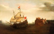 Vromm_Hendrick_Cornelisz_A_Castle_with_a_Dutch_Ship_Sailing_Nearby