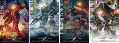 Pacific Rim Gipsy danger, Striker Eureka, Crimson Typhoon and Cherno Alpha the Jaegers