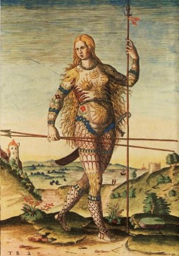 Pict Warrior - Engraving by Theodore de Bry based on paintings by John White