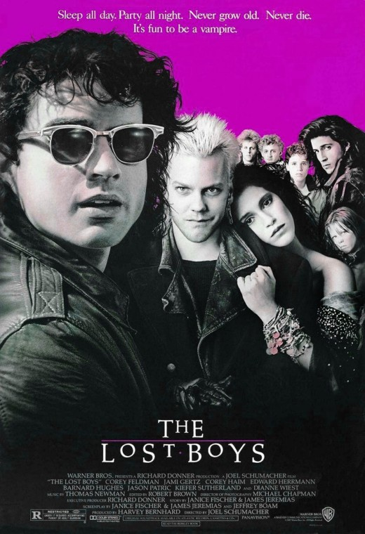"Poster cover for the movie ""The Lost Boys""."