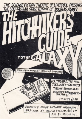 Flyer for the 1979 stage production at the ICA of The Hitchhiker's Guide To The Galaxy.