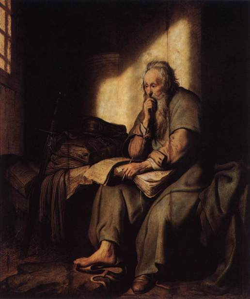 Rembrandt-Harmenszoon-van-Rijn-Apostle-Paul-in-Prison