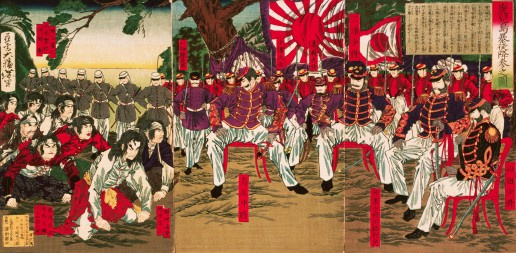 1877 --- In 1877, nine years after the Meiji Restoratin, a major rebellion in Kyushu concentrated the opposition of conservative elements to the westernization of Japan. The traditional forces, including for example samurai infuriated at no longer being allowed to carry swords, were defeated by the new conscript army. Thousands were executed. Here the brave new officers in their western-style uniforms accept the surrender of un-uniformed rebels. --- Image by © Asian Art & Archaeology, Inc./CORBIS