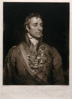 V0048407 Arthur Wellesley, first Duke of Wellington. Credit: Wellcome Library, London. Wellcome Images images@wellcome.ac.uk http://wellcomeimages.org Arthur Wellesley, first Duke of Wellington. He rose to prominence in the Napoleonic Wars, eventually reaching the rank of field marshal. 1814 By: Thomas Phillipsafter: William SayPublished: Nov. 8 1814. Copyrighted work available under Creative Commons Attribution only licence CC BY 4.0 http://creativecommons.org/licenses/by/4.0/