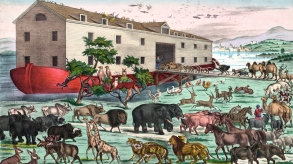 This vintage illustration features Noah's Ark and the animals in a scene depicted from the Bible.