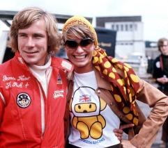 1974: JAMES HUNT WITH HIS WIFE SUZI DURING THE BRITISH GRAND PRIX AT BRANDS HATCH. Mandatory Credit: Allsport UK/ALLSPORT