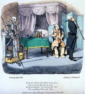 V0042021 The dance of death: Death sees a patient. Colour lithograph Credit: Wellcome Library, London. Wellcome Images images@wellcome.ac.uk http://wellcomeimages.org The dance of death: Death sees a patient. Colour lithograph by Edward Hull, 18--. 1827 By: Edward HullPublished: Dec.r 1827 Copyrighted work available under Creative Commons Attribution only licence CC BY 4.0 http://creativecommons.org/licenses/by/4.0/